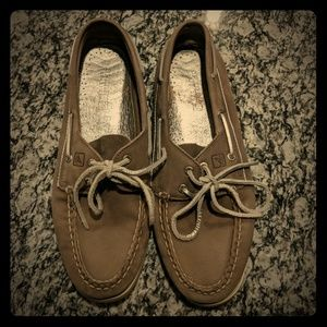 Shower gray and silver boat shoes women's size 10